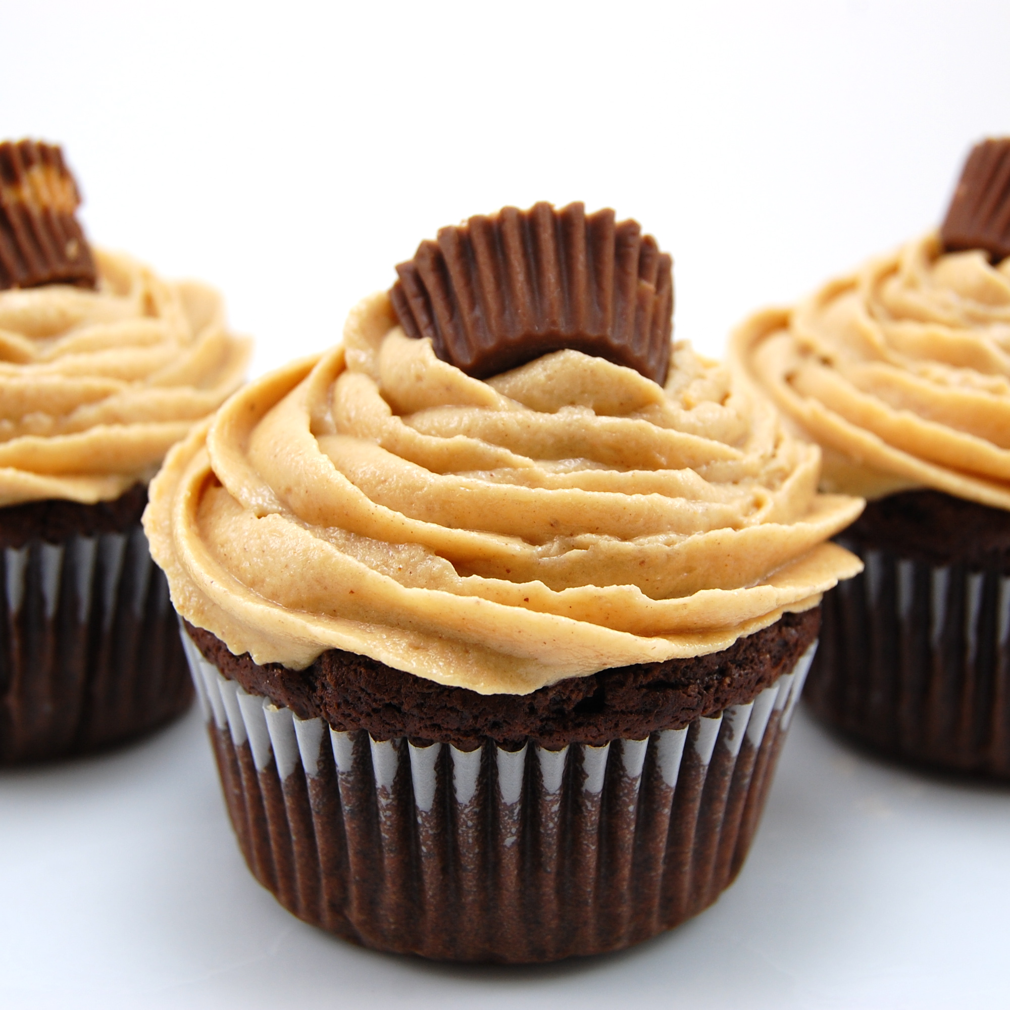 chocolate cupcakes filled with peanut butter cups