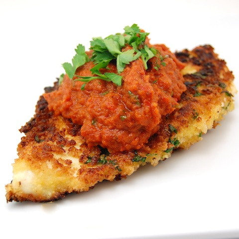 Milanese-Style Chicken with Roasted Pepper & Tomato Sauce