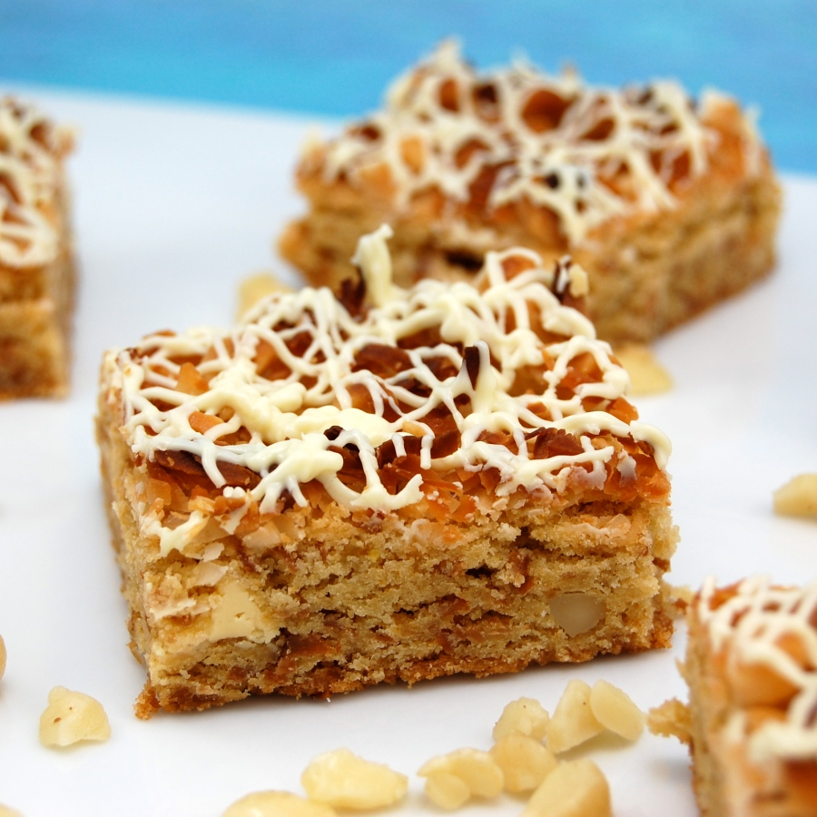 White Chocolate Macadamia Nut Blondies with Toasted Coconut