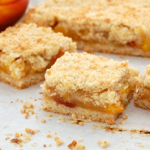 Peach Crumb Bars Recipe — Dishmaps