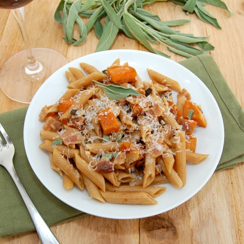 ... Pea's Kitchen » Penne with Roasted Butternut Squash, Bacon and Sage