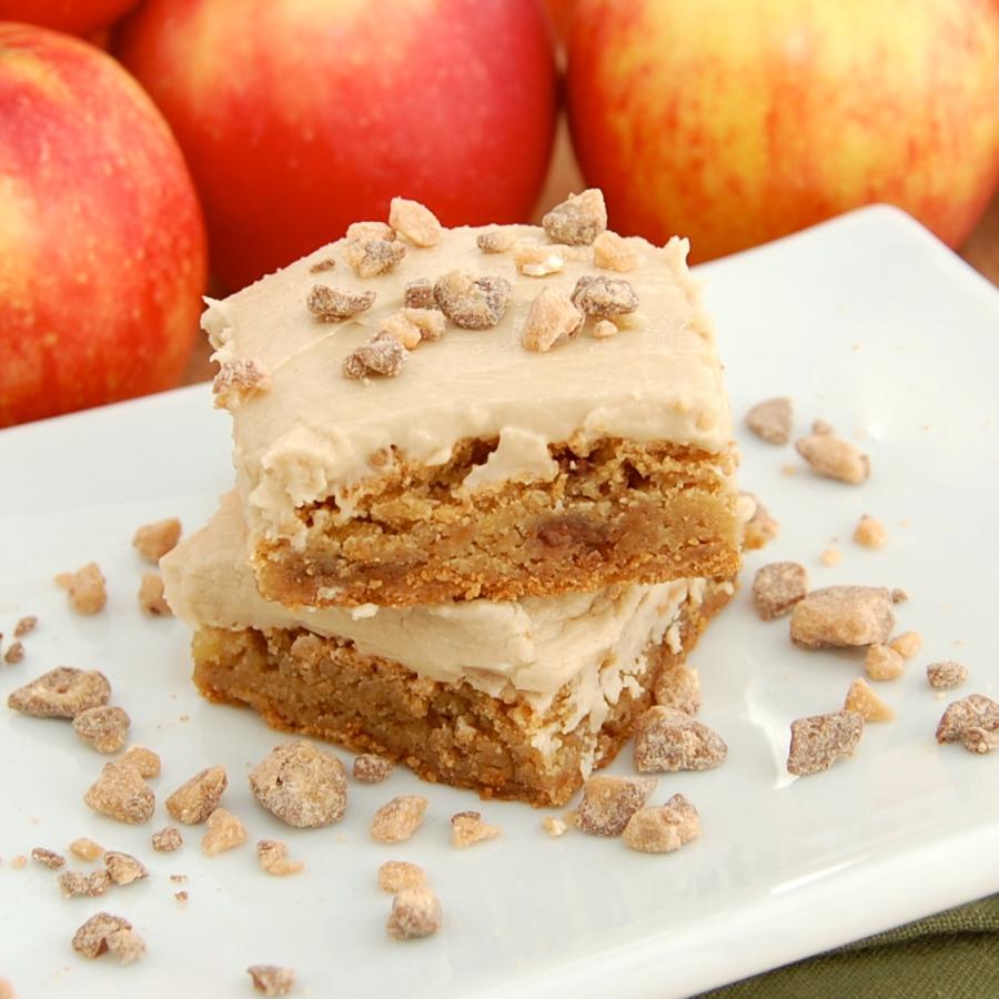 Apple Toffee Blondies with Brown Sugar Frosting