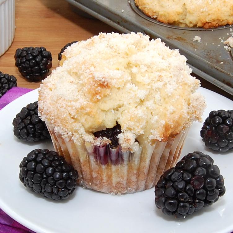 Lemon Ricotta Blackberry Muffins