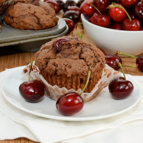 save double chocolate cherry muffins rich tender chocolate muffins ...